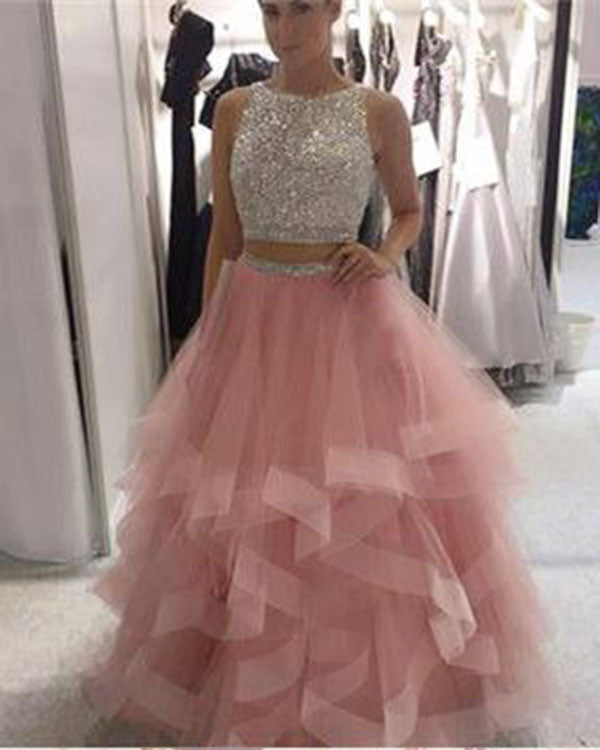 20314551acc Pink Tulle Ruffles Two Piece Prom Dresses with Pearls Beadings Open ...