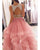 Pink Tulle Ruffles Two Piece Prom Dresses with Pearls Beadings Open Back Long Prom Gowns 2018