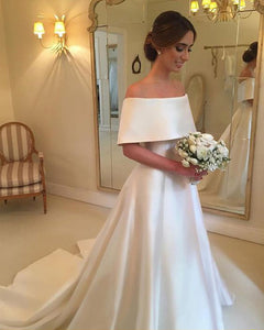 Simple Satin Wedding Dresses 2018 Fashion Cap Sleeve Modest Bridal ...