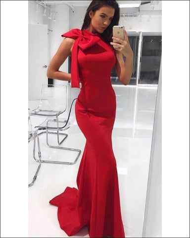 1f44dc7d71b 2018 Elegant Red Mermaid Prom Dresses with Big Bow Sexy Evening Gowns Long