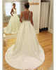 Delicate 2018 Wedding Dresses Satin Rhinestones Belt Modest Satin Wedding Gowns Backless
