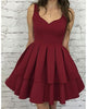 Simple Burgundy Homecoming Dresses Scoop Neckline Short Prom Party Gowns Cocktail Dress 2018 Fashion Style