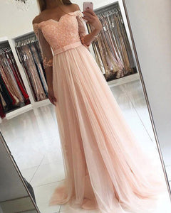Off The Shoulder Coral Prom Dresses with Half Sleeve Tulle Lace Ruffles Modest Long Prom Party Gowns 2020