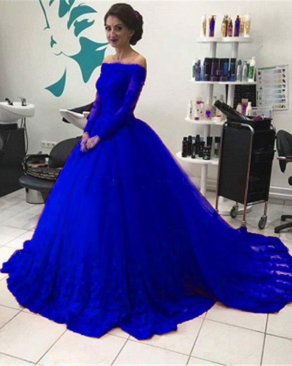 d7fe709bfed Off The Shoulder Red Lace Quinceanera Dresses with Long Sleeve Puffy Ball  Gowns Quince Sweet 16