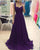 Simple Navy Blue Chiffon Prom Dresses with Straps A line Long Prom Gowns for Party Pageant Dress