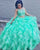 Delicate Mint Quinceanera Dresses Organza Ruffles Puffy Ball Gown 3 Piece Quince Sweet 16 Dress