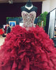 Sparkly Burgundy Quinceanera Dresses Crystals Sweetheart Beaded Organza Ruffles Ball Gown Sweet 16 Dresses