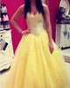 Lovely Yellow Tulle Puffy Ball Gown Quinceanera Dresses 2018 Sweet 16 Dresses Beaded Sequins Lace-up Back Vestidos De 15