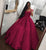 2018 Dark Red Satin Lace Quinceanera Dresses Ball Gowns Sweet 16 Dress vestidos de quinceañera