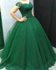 Off The Shoulder Green Quinceanera Dresses Cap Sleeve Sweet 16 Dress Lace Appliques Tulle Puffy Ball Gown 2018