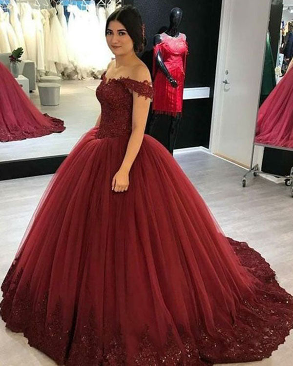d5fa08d8002 Delicate Burgundy Quinceanera Dresses Cap Sleeve Lace Appliques Tulle Puffy Ball  Gown 2018 Sweet 16 Dress