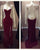 Delicate 2018 Burgundy Mermaid Prom Dresses Open Back Sexy Prom Party Gowns Beaded