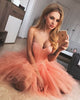 2018 Coral Homecoming Dresses Fashion Strapless Short Tulle Ruffles Prom Party Gowns Cocktail Dress