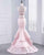 Popular2018 Pink Two Piece Prom Dresses Beaded Elastic Satin Mermaid Prom Party Gowns