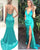2020 Turquoise Silk Like Satin Mermaid Prom Dresses with Split Sexy Deep V-Neck Long Prom Gowns for Party