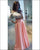Beautiful Two Piece Prom Dresses Off The Shoulder White Lace Coral-Pink Satin Long Prom Gowns for Party