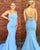 Light Blue Satin Mermaid Prom Dresses with Spaghetti Straps Beaded Sequins Sexy Prom Party Gowns New Fashion