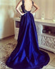 Royal Blue Satin Prom Dresses Square Neck Hi-Lo Long Prom Gowns Party Dress with Appliques Beaded