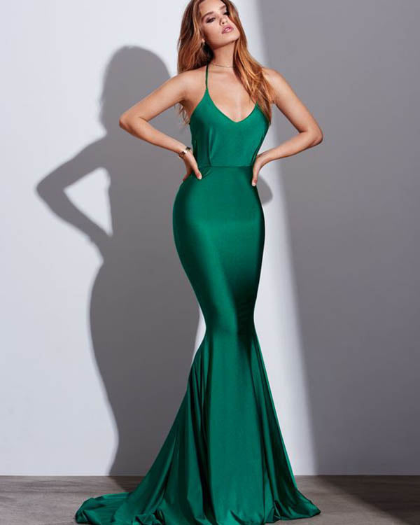 Sexy Green Mermaid Prom Dresses 2018 New Popular Silk Like Satin Prom Party  Gowns Backless fbd833f47