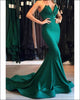 Sexy Strapless Mermaid Evening Gowns Pleats Ruffles Green Formal Evening Dresses 2018