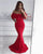 Sexy Off The Shoulder Flounced Prom Dresses Mermaid Sexy Red Prom Party Gowns 2018
