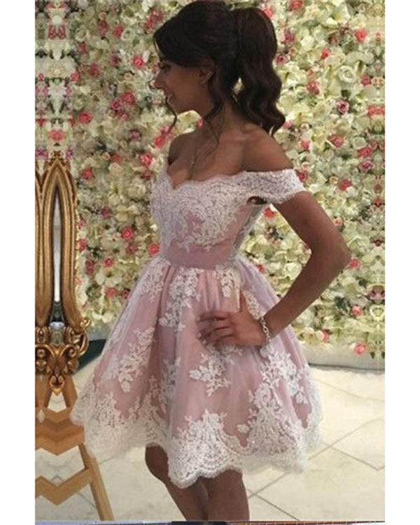 5718492de4 Delicate Short Homecoming Dresses Freshman Blush Pink and White Lace Prom  Party Gowns Cocktail Dress