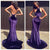 Fashion 2018 Sexy Purple Velvet Prom Dresses Mermaid Halter Backless Evening Gowns Long
