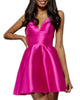 Fashion 2018 Fuchsia Satin Cocktail Dresses V-Neck Short Homecoming Dresses Party Gowns