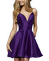 2018 Purple Satin Homecoming Dresses V-Neck Sexy Short Cocktail Dresses Backless Party Gowns