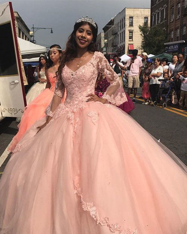 061cbfbef2 Princess Ball Gown Quinceanera Dresses Lace Appliques Pink Vintage Long  Sleeves Tulle Sweet 15 Dress