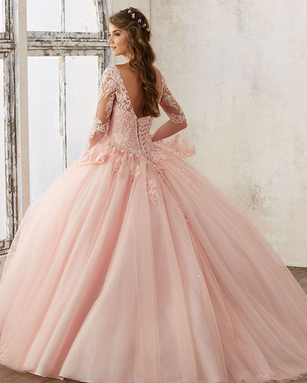 Princess Blush Pink Long Sleeves Tulle Ball Gown Quinceanera Dresses Lace  Appliques 215233fe72ad