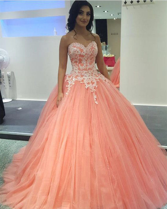 Coral Tulle White Appliques Ball Gown Quinceanera