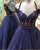 Navy Blue Tulle  Prom Dresses with Lace Appliques 2019 Sexy Long Prom Gowns Pageant Dress
