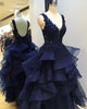 prom-dresses-organza prom-gowns prom-dress-navy-blue prom-dresses-layers v-neck-prom-dress homecoming-dresses