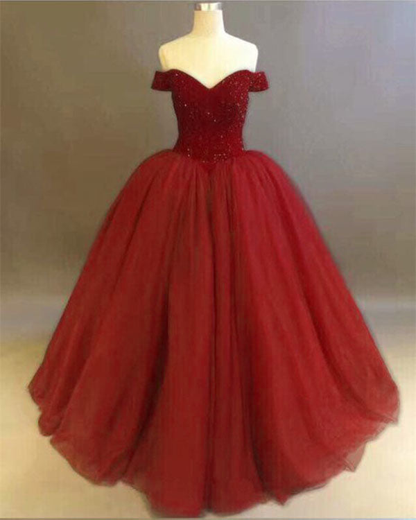 3dd6089219d Off The Shoulder Dark Red Quinceanera Dresses with Rhinestones Beaded  Elegant Puffy Ball Gowns Sweet 15