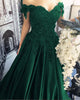 2018 Dark Green Satin Lace Quinceanera Dresses Appliques Off The Shoulder vestidos de quinceañera
