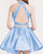 Two Piece Light Blue Satin Homecoming Dresses Lace Halter Open Back Party Gowns