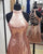 Sparkly Rose Gold Sequins Prom Dresses Halter Sexy Short Homecoming Dress Cross Straps Back