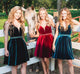 Cute A Line V Neck Open Back Velvet Burgundy Short Homecoming Dress Sexy Short Prom Dresses Party Gowns