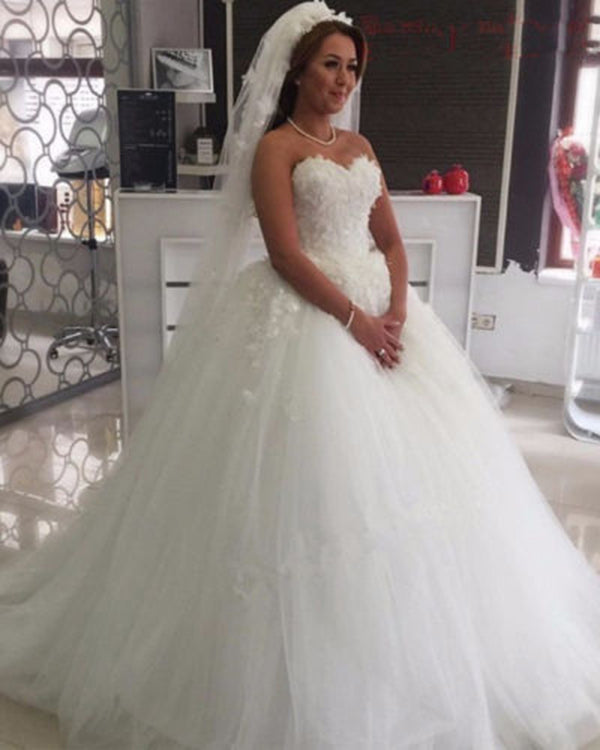 Sexy 2019 Sweetheart Wedding Dresses With Flowers Puffy Tulle Ball