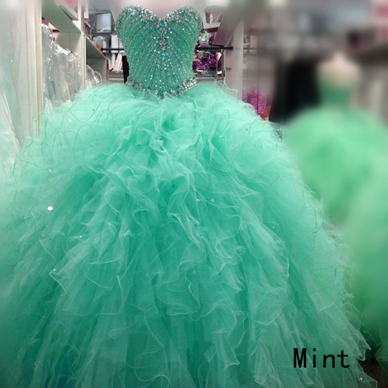 2e2304b290 New Popular Mint Quinceanera Dresses Beaded Sparkly Rhinestones Puffy Tulle  Ruffles Ball Gown Sweet 16 Dress
