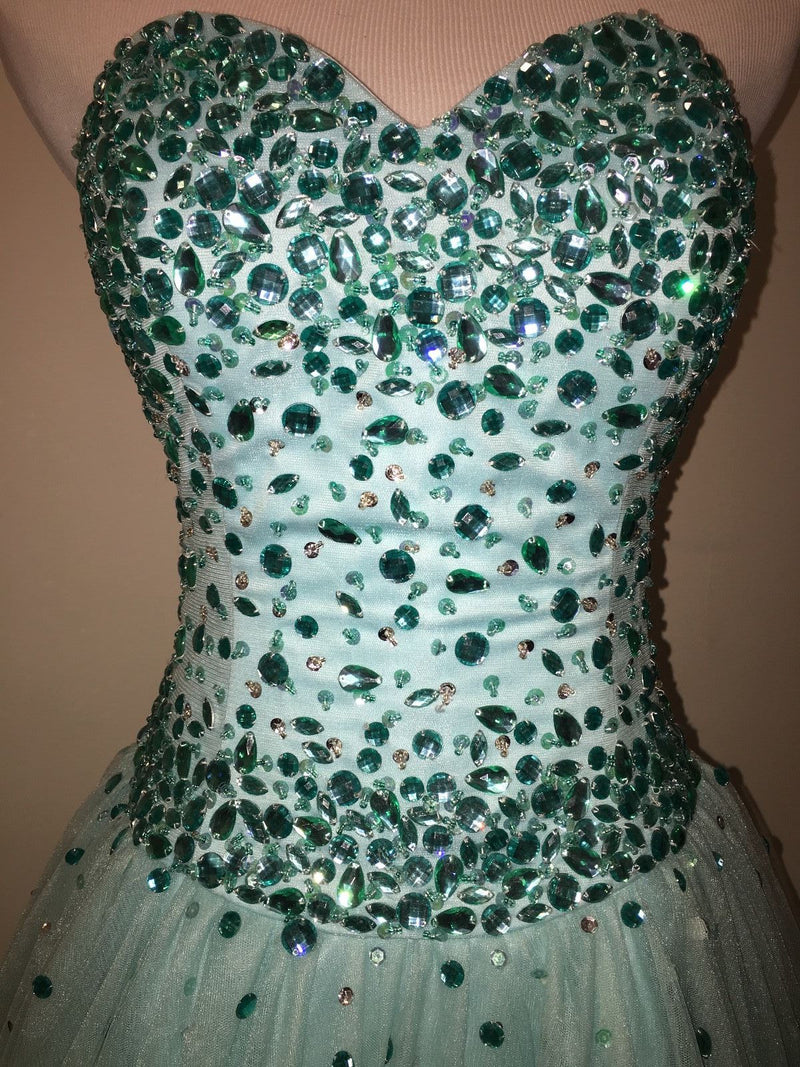 179ebf691f3 Beautiful Mint Tulle Prom Dresses Beadings Sweetheart 2018 Long Prom Gowns  for Party
