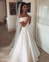 Simple Off The Shoulder Satin Wedding Dresses 2019 Fashion Cap Sleeve Modest A-line Bridal Wedding Gowns