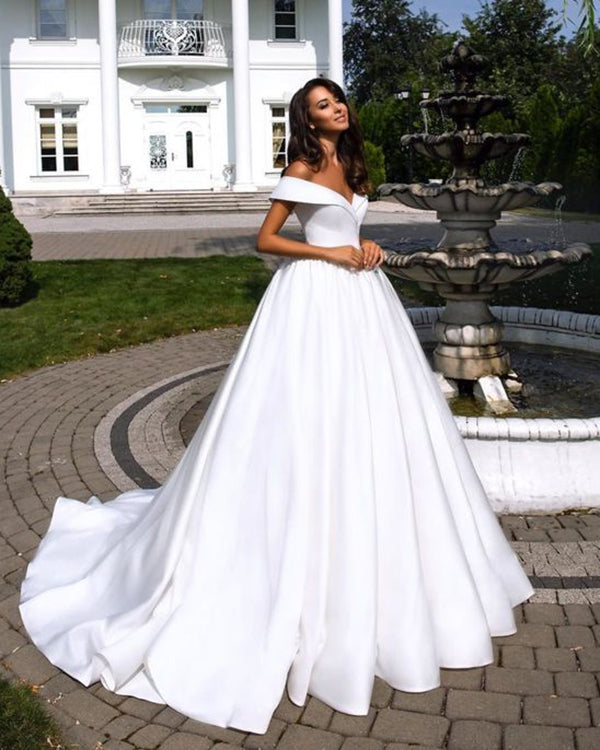 1fe9a5fe95a Sexy Off The Shoulder Wedding Dresses 2019 Cap Sleeve Satin Bridal ...