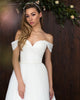 Simple White Tulle Wedding Dresses Off The Shoulder A-line Bridal Dress Floor Length