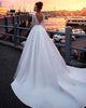 Long Sleeve Satin Wedding Dresses Backless 2019 Ball Gown Bridal Dress Cathedral Train