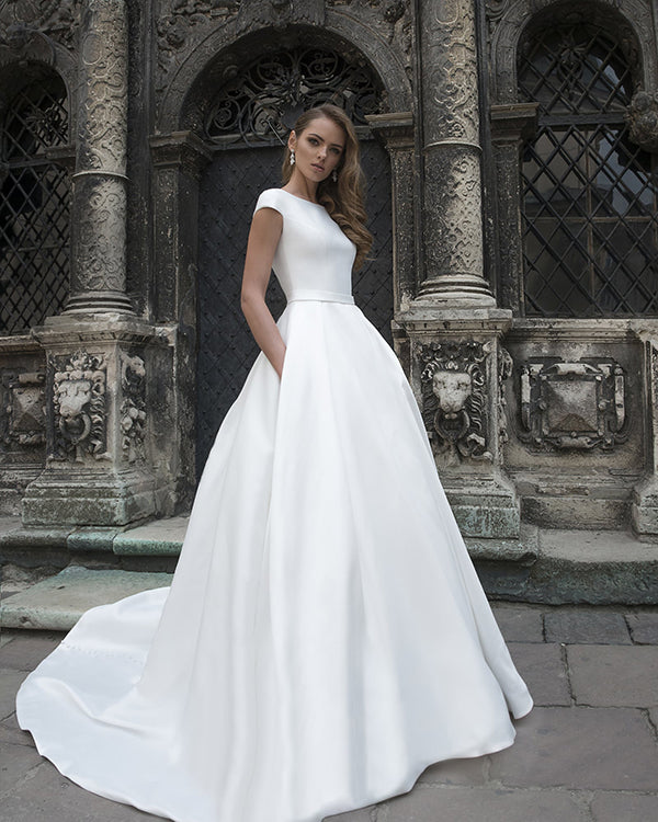 0d2ca2f1af0 New 2019 Satin Wedding Dresses with Pockets Modest Cap Sleeve A-line Bridal  Gowns
