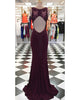 Burgundy Mermaid Prom Dresses with V-Neck Lace Appliques 2019 Sexy Mermaid Party Gowns