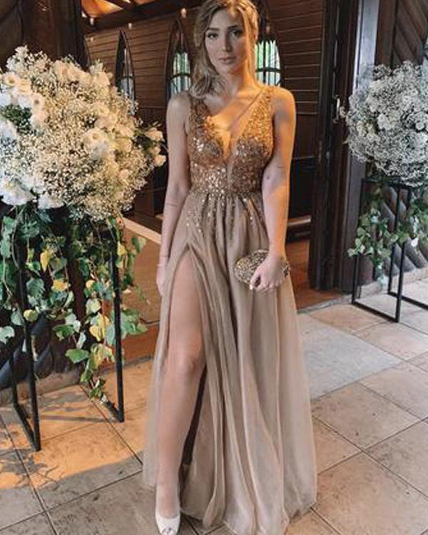 862cfed623 Sexy Champagne Tulle Prom Dresses 2019 Deep V-Neck Beaded Bodice ...