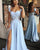 Cap Sleeve Light Blue Prom Dresses with Split Side Sexy Long Prom Gowns for Party